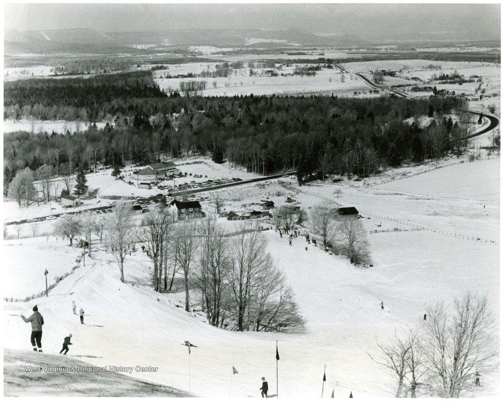 Skiers at Cabin Mountain Ski Area, circa late 1950s.