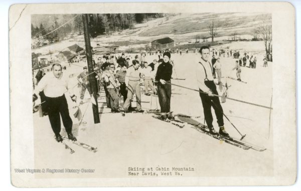 Skiers in line for the rope-tow at the Cabin Mountain Ski Area.