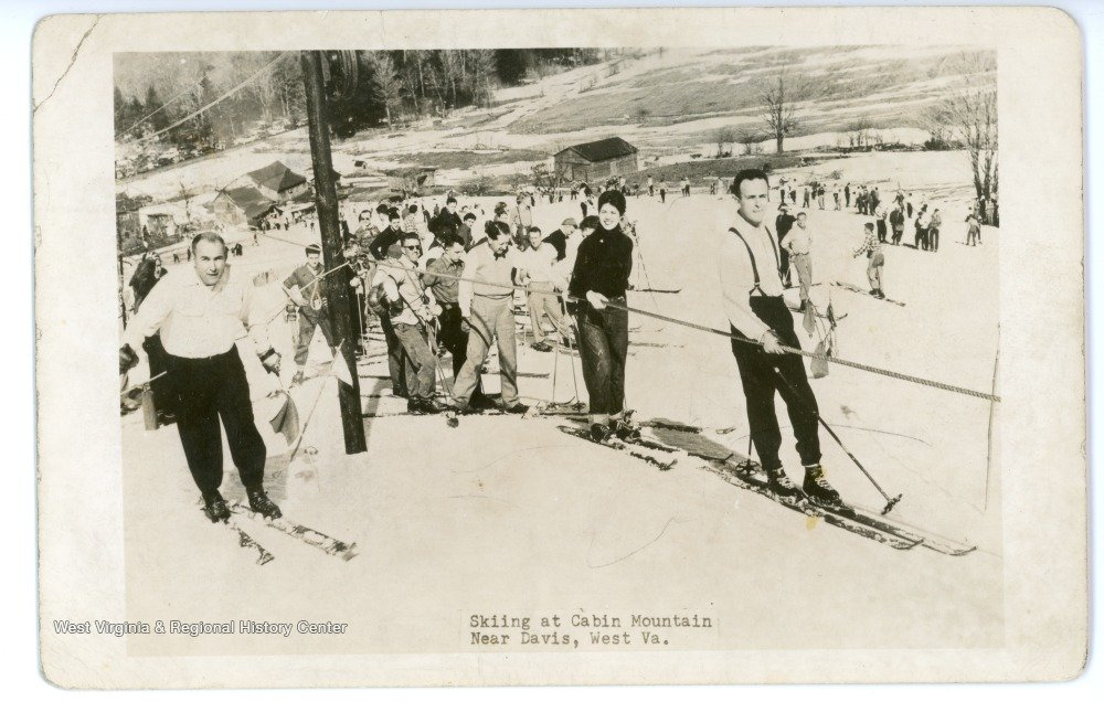 Canaan Valley Skiing: Skiers in line for the rope-tow at the Cabin Mountain Ski Area.