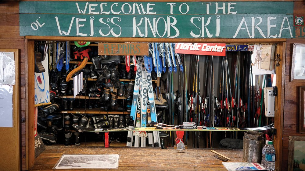 Canaan Valley Skiing: The original Weiss Knob Ski Area sign still hangs in White Grass today. Photo credit: Dylan Jones